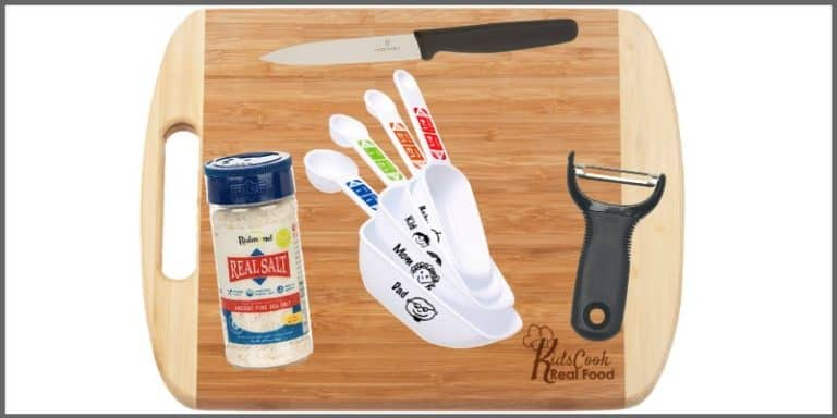 package of kids cooking tools: paring knife, measuring cups/spoons, peeler, bamboo cutting board, Real Salt