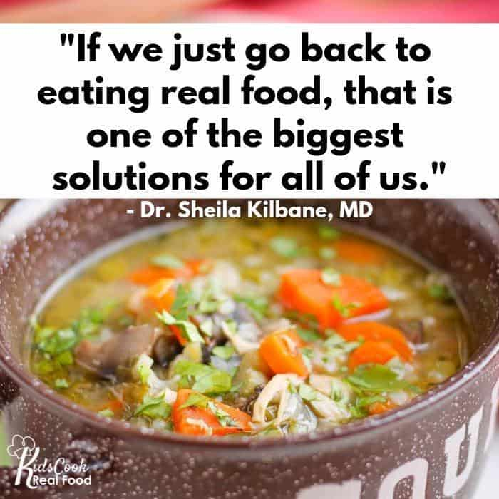 Inspirational quote about eating real food