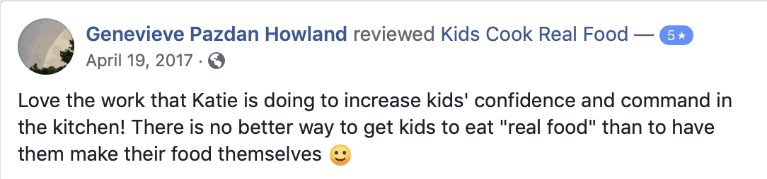 Facebook review of the Kids Cook Real Food eCourse