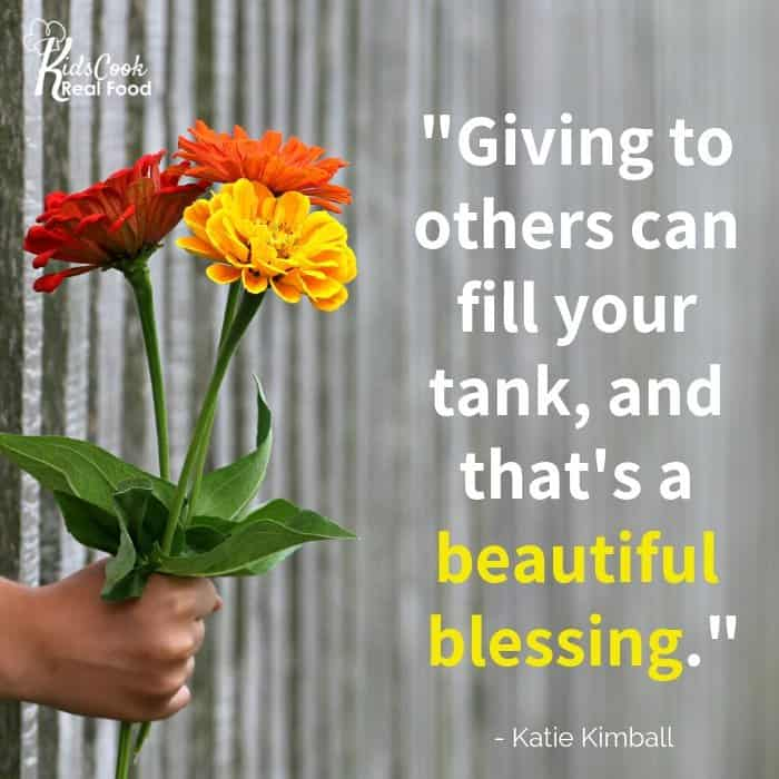 Giving to others can fill your tank, and that's a beautiful blessing. -Katie Kimball