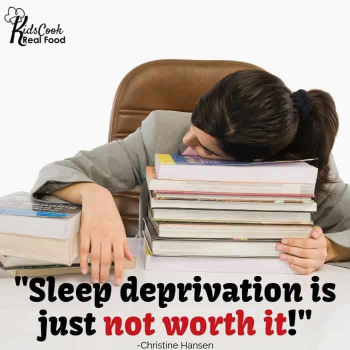 Sleep deprivation is just not worth it! -Christine Hansen