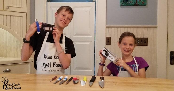 Kids holding kid-safe knives