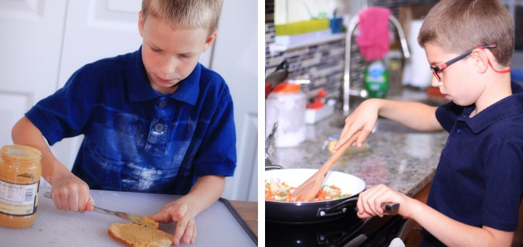 kids cooking independently