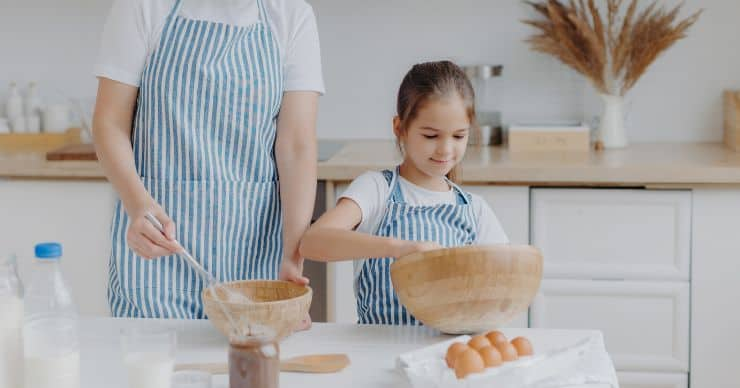 girl mixing in the kitchen